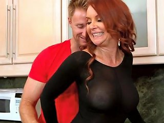 Janet Mason Wearing Body Stockings Teasing Him In The Kitchen