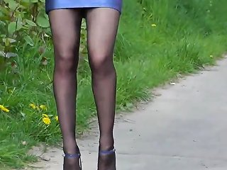 Nice Sexy Lady In Blue Tight Leather Mini Skirt Hd Porn 58